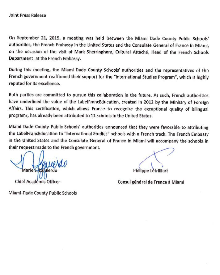 joint press release miami dade public schools french embassy